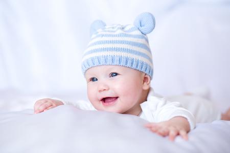 Adorable baby 6 months, close-up portrait