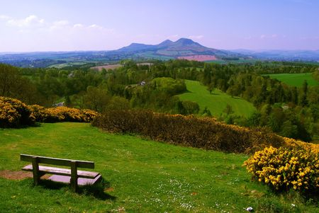viewpoint called Scotts View near Melrose, Scotland overlooking the landscape of the Borders with the Eildon Hills in the distance photo