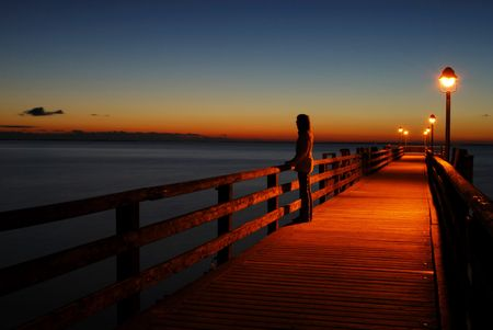 pier going out into the Baltic Sea at dusk