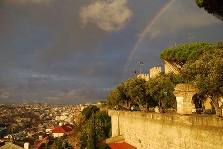 jorge: rainbow over Castelo Sao Jorge and the city of Lisbon underneath