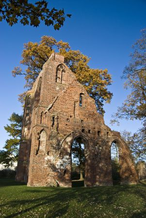 ruin of the monastery Eldena in Greifswald, germany photo