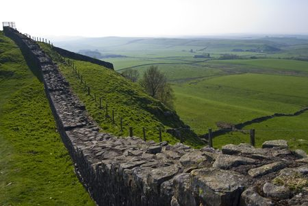 part of the ancient Hadrians wall in northern England
