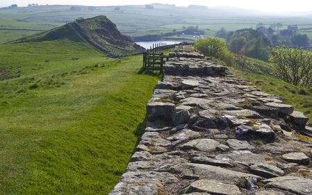 part of the roman Hadrians Wall near the Cawfields
