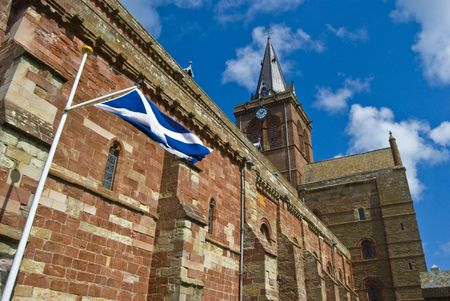mainland: St Magnus Cathedral in Kirkwall on Orkney Mainland Stock Photo