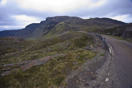 singletrack road of the Applecross Pass in Scotland