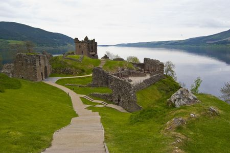 Urquhart Castle surrounded by the famous Loch Ness