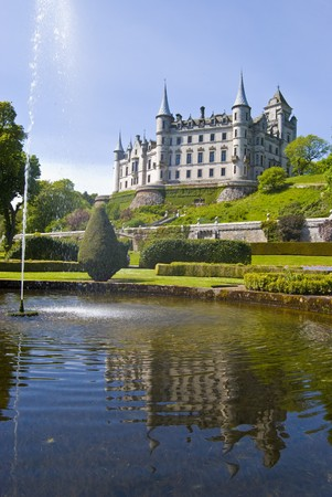 historical reflections: view of Dunrobin Castle in Scotland, UK