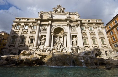 famous Fontana di Trevi in Rome on a sunny day Stock Photo