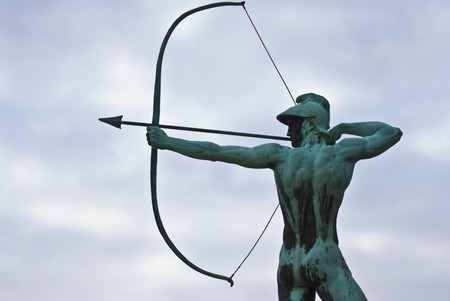 dresden: famous statue of the Archer in Dresden, Saxony Stock Photo
