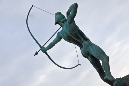 famous statue of the Archer in Dresden, Saxony Stock Photo