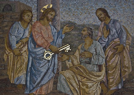 mosaic of Saint Peter receiving the key from Jesus Stock Photo