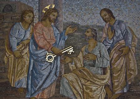 mosaic of Saint Peter receiving the key from Jesus Standard-Bild