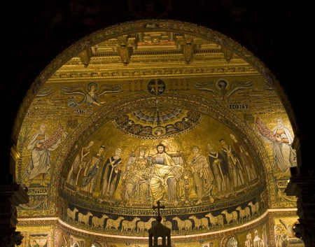 detail of the beautiful church in Trastevere in Rome photo