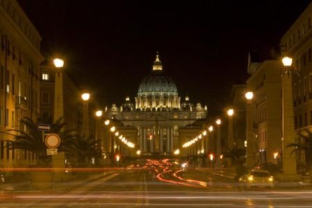 famous basilica of San Pietro illuminated at night photo