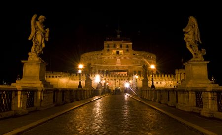 castel: famous Castel Sant Angelo in Rome at night