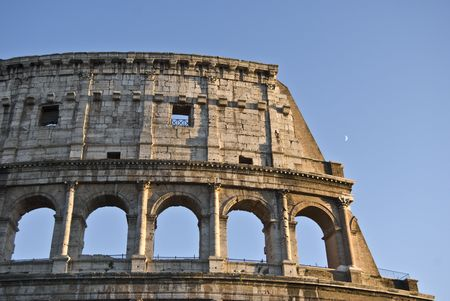 detail of the famous ancient amphitheater in Rome photo