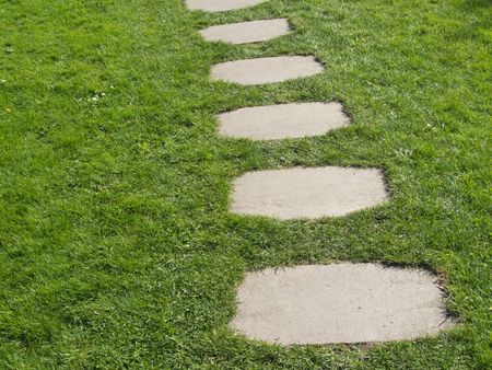 plates of stone leading as a path through a lawn photo
