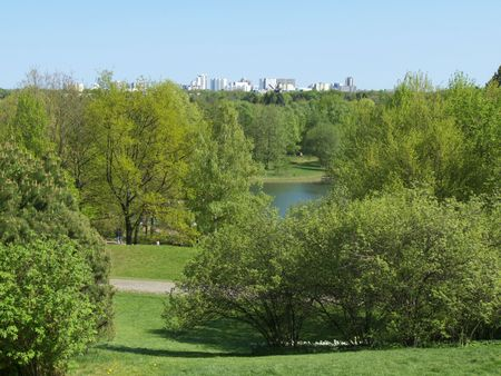 view over the Britzer garden with high residential houses in the background photo