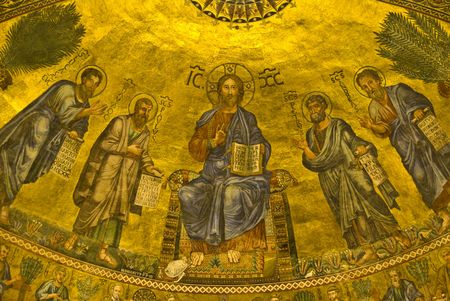 old mosaic in one of the main churches of the Vatican in Rome photo