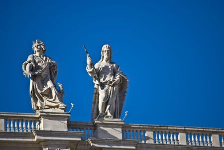 some of the statues of the apostel on the roof of San Pietro Stock Photo - 4828185