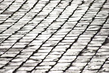pavement of grey old cobblestones shining in the sunlight photo