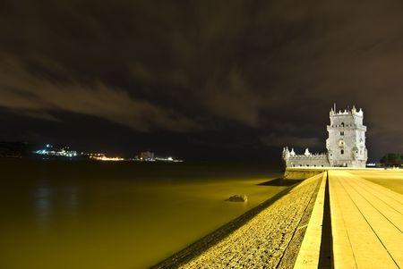 famous Torre de Belem illuminated at night Stock Photo - 4869377