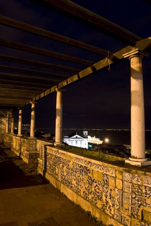 old and famous viewpoint Mirador de Santa Lucia at night photo