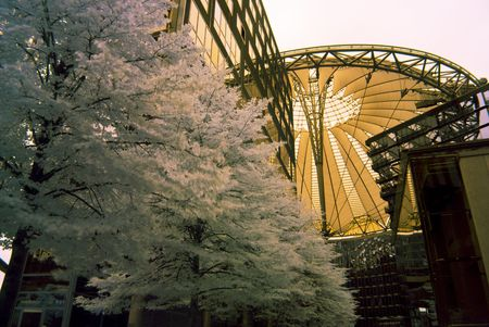 detail of the Sony Center in Berlin, photo taken with an infrared filter photo