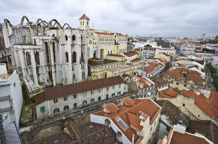 ruin of the church standing on top of the Baixa in Lisbon photo
