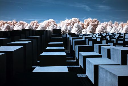 holocaust: detail of the holocaust memorial in berlin, photo taken with an infrared filter