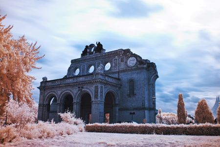 bombed city: ruin of the Anhalter Bahnhof, photo taken with an infrared filter
