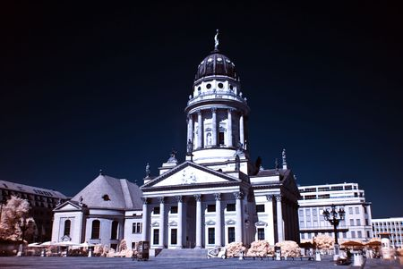 french Dome at the Gendarmenmarkt in Berlin, photo taken with an infrared filter photo