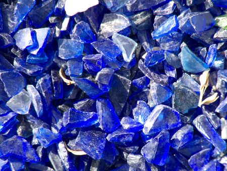 many broken pieces of glass in blue Stock Photo - 5097717