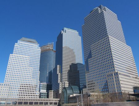 modern office buildings rising high in Manhattan Stock Photo - 5214502