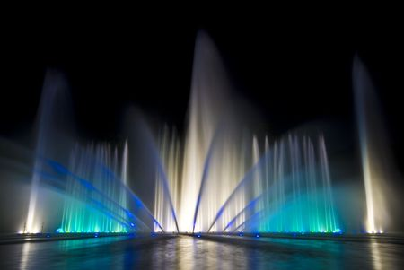 beautiful show with fountains and music in Planten un Blomen, Hamburg Stock Photo