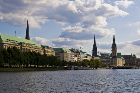 beautful view over the Alster and its surrounding buildings