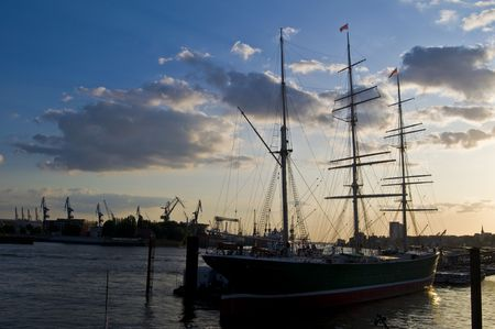 starboard: old sailing boat in the harbor of Hamburg Stock Photo