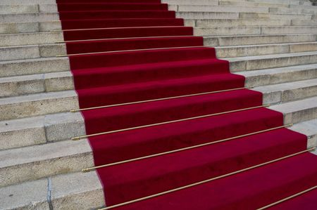 beautiful red carpet leading up old steps Stock Photo - 5600765