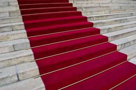 beautiful red carpet leading up old steps Stock Photo - 5600673