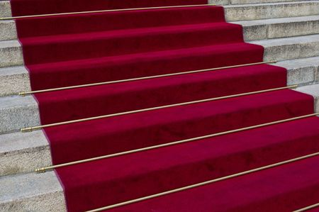 beautiful red carpet leading up old steps Stock Photo - 5600700