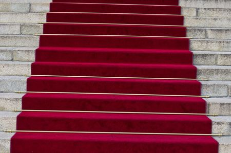beautiful red carpet leading up old steps Stock Photo - 5600671
