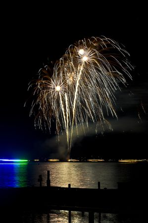 beautiful fireworks display at Wannsee in Flammen in Berlin photo