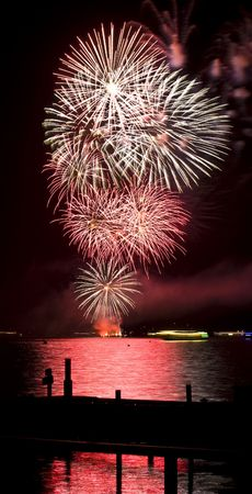 beautiful fireworks display at Wannsee in Flammen in Berlin Stock Photo - 5650646