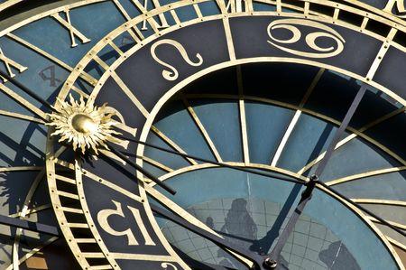 astrol�gico: detalle del famoso reloj astron�mico de Praga Foto de archivo
