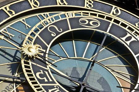 detail of the famous astronomical clock in Prague