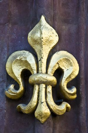 golden fleur de lis on a facade Stock Photo