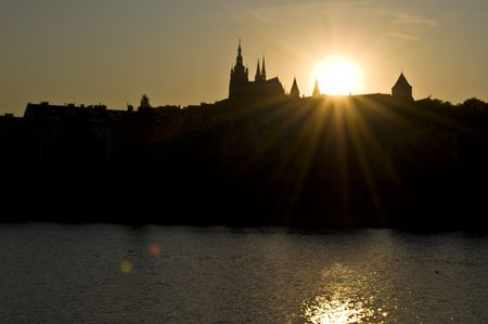 beautiful sunset at the castle in Prague photo