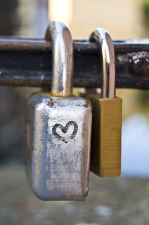 locks symbolizing a vow for everlasting love Stock Photo