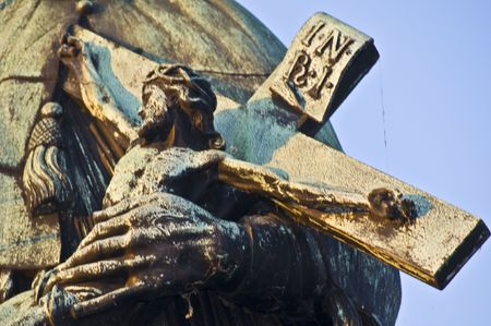 detail of a statue on the Charles bridge in Prague photo