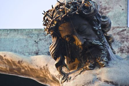 cristo: detail of a statue on the Charles bridge in Prague